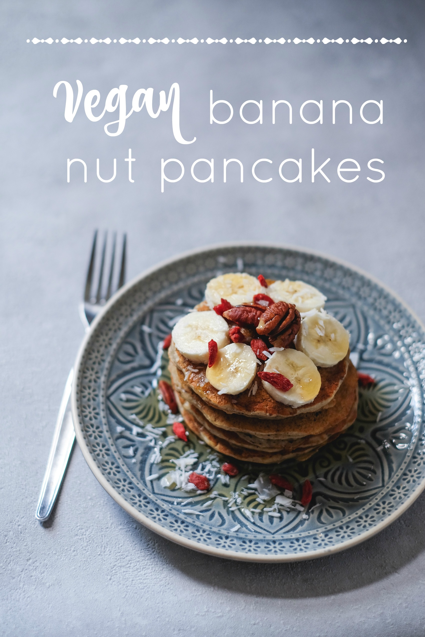 vegan banana nut pancakes - by heylilahey