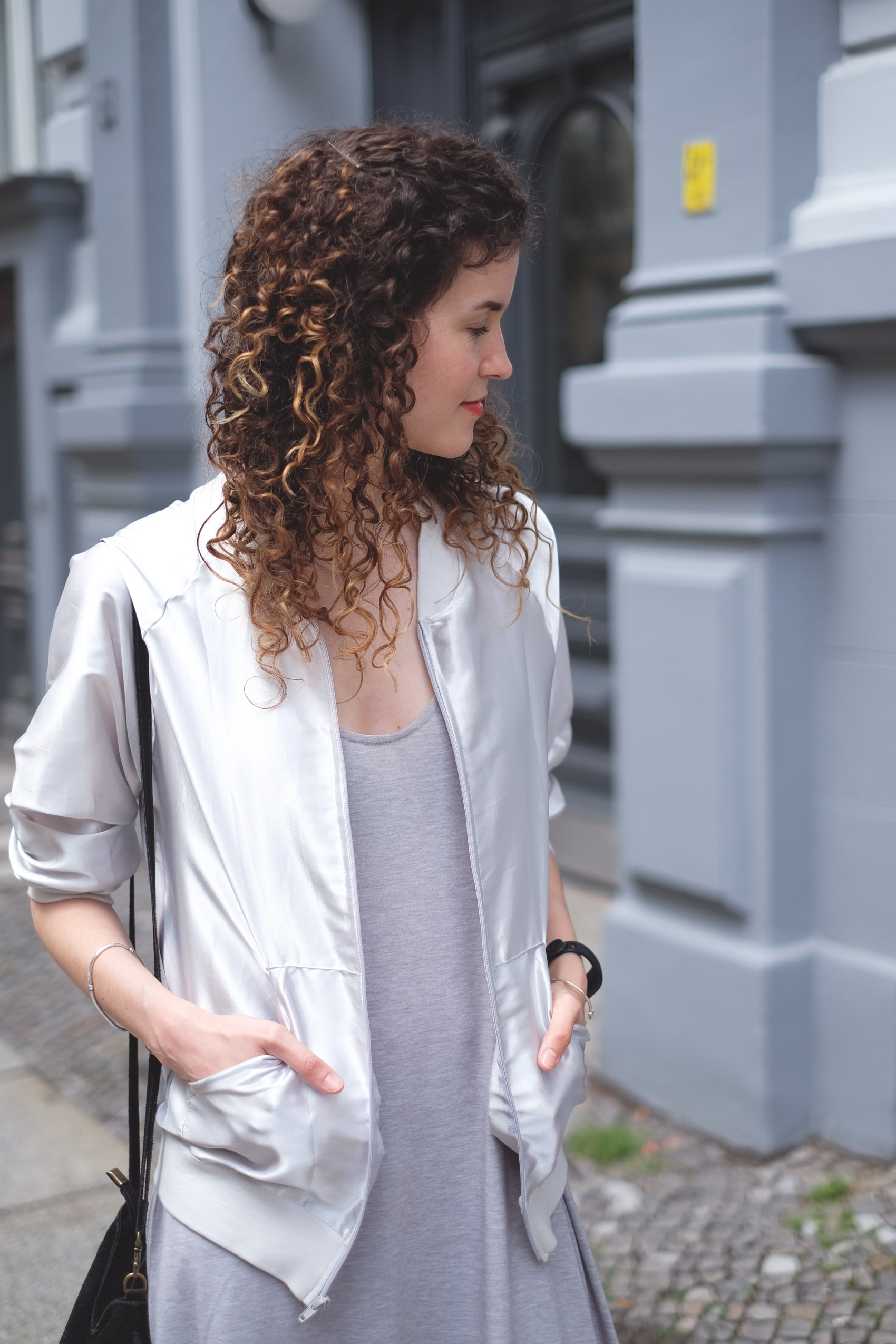 silver bomber jacket